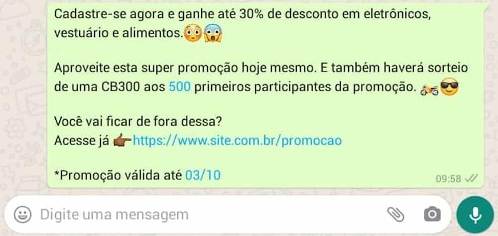 Print do WhatsApp, texto da promoção.